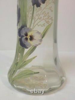 Legras Lamartine Art Nouveau Glass 11.5 Vase, Pansies Émaillées, Vers 1910-25 (#2)