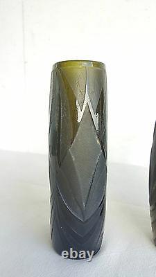Legras Vase Paire De Débuts Grave Xxe Signe Vase Soliflore Verre Acide Art Deco