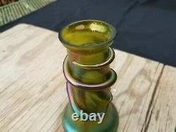 Loetz Art Glass Green Iridescent Snake Head Vase
