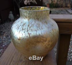 Loetz Art Glass Vase Tache D'huile Avec Corps Alvéolaire Nice