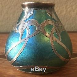 Loetz Art Vase En Verre Avec Superposition D'argent Sterling