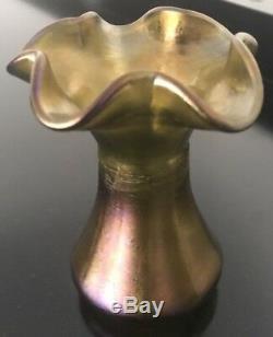 Loetz Art Verre Irassé Vase Circa1900s Soufflé À La Main Rare 4.5