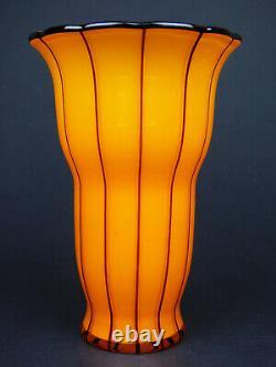 Loetz Ausfuehrung 157 Vase En Verre Orange Et Noir 1914 Art Déco Tango Bohemian