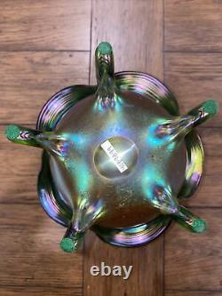 Loetz Autriche Candia Silberiris Pied Vase 9.75 Pouce Tall Exquise Art Glass