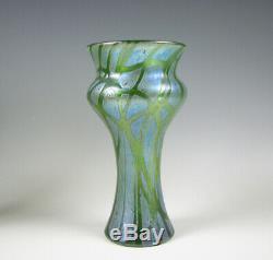 Loetz Cabinet Verre Art Autrichien / Bohême Taille Vase Pampas