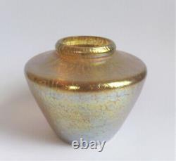 Loetz Candia Papillon Gold 5 Iridescent Antique Bohemia Art Nouveau Glass Vase