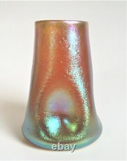 Loetz Candia Silberiris 4 Gold Blue Iridescent Art Glass Pinched Nouveau Vase