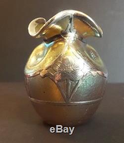 Loetz Candia Silberiris Petite Vase Art Nouveau En Argent Massif
