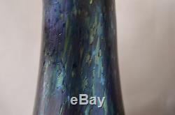 Loetz Cobalt Papillon Bleu Irisé Verre Autrichien Art Paire De Vases