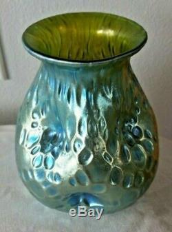 Loetz Crete Diaspora Creta Silberiris Art En Verre Vase Bleu Vert Nouveau Pinched