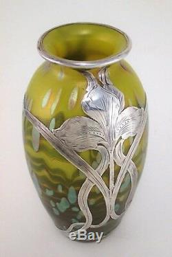 Loetz Cytisus Métallique Jaune Citron Art Vase En Verre Alvin Sterling Overlay 7 T