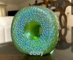 Loetz Martele Silberiris Bleu Vert Iridescent Antique Glass D'art Bohemien Vase