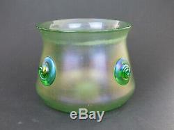 Loetz Olympia Glatt Vase Avec Des Prunts Vert Irisé Lobmeyr Art Nouveau