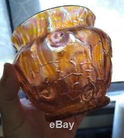 Loetz Orange Métallisé Astglas Art Vase Bowl 3.5 Menthe