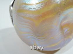 Loetz Phaenomen Vase Antique Art Nouveau Austrian Glass Overlay Argent