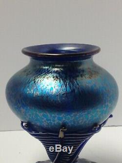Loetz Phanomenen Art Glass Vase. Bohême. Spider Web Application. Bleu Taches D'huile