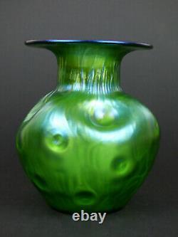 Loetz Rusticana Grand Vase En Verre Vert Irisé Bohemian Art Nouveau Antique