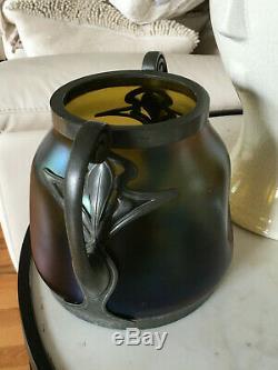 Loetz Style Art Nouveau Antique Iridescent Verre Argent Métal Étain Vase Large