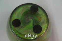 Loetz Titania Art Glass Vase C. 1905 Green Orange 4,5 H