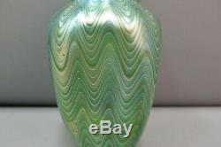 Loetz Titania Art Vase En Verre Vert C. 1905 7h