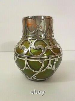 Loetz Titania Silver Overlay Art Glass 4.5 Vase, C. A.c. Prize, Vers 1911