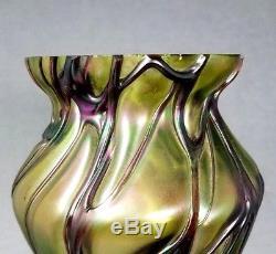 Loetz Vase Art En Verre Irisé Kralik Pallme Konig Rindskopf Bohémien 9 1/2