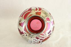 Loetz Vase Art Nouveau En Argent Massif Recouvert De Verre Art Irisé Irisé