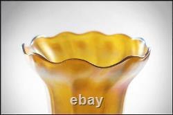 Louis Comfort Tiffany Large Favrile Vase En Verre Main Signée Antique Art Nouveau