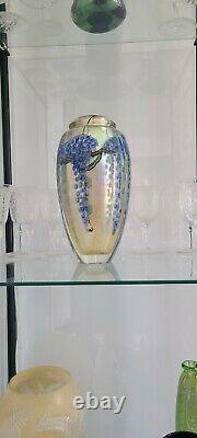 Lundberg Studios Art Glass Daniel Salazar Paperweight Vase Wisteria 8,8 2007