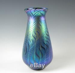 Lundberg Studios Art Glass Vase Bleu Irisé