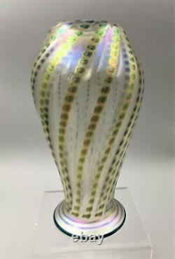 Lundberg Studios Iridescent Art Glass Vase Signé / Daté 2011