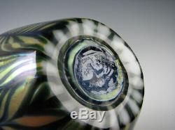 Lundberg Studios Vert Et Or Irisé Art Glass Vase