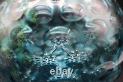 MID Century Bohemian Borske Sklo Czech Art Glass Optic Olive Vase En Bleu
