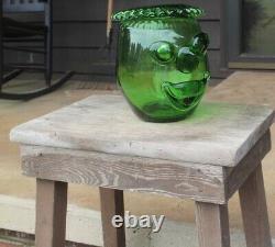 MID Century Modern MCM Blenko Green Clown Face Vase Glass Art Joel Myers Design