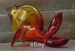 MID Century Vtg Blenko Amberina Tangerine Art Verre Poisson Vase Livraison Gratuite
