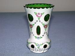Magnifique Antique Tchécoslovaquie Moser Coupe Vase En Verre D'art Blanc À Vert