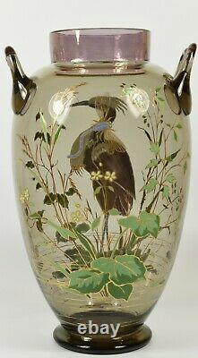 Magnifique Grand Art Nouveau C1900 Peint À La Main Harrach Bohème Verre Vase De Héron