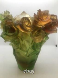 Magnifique Nancy Daum Style Art Verre Rose Vase 21/21/19 CM 6,4lb Signé France