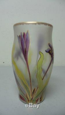 Magnifique Vase En Verre Art Bohemian Fritz Heckert Antique, Env. 1890-1900