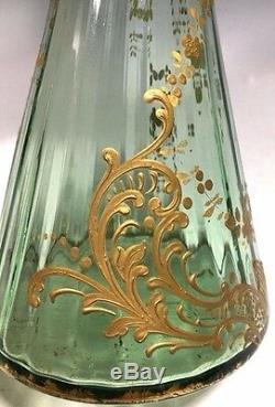 Magnifique! Vase Vintage Moser Green Art En Verre Email Doré 11 1 / 2h
