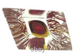 Mandruzzato Texturé & Facettes Murano Rubis & Amber Vase Bloc De Verre D'art