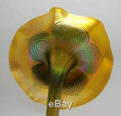 Massif & Rare Iridized 15 Quezal Art Glass Vase De Culture