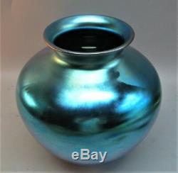 Massive 10 Steuben Blue Aurene Art Vase En Verre Couleur Superbe! C. 1915 Antique