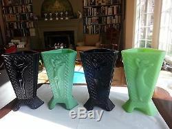 Mckee Jadéite Jadite Verre Art Déco Nu Lady 3 Faces Triangle Vase Fait À La Lampe