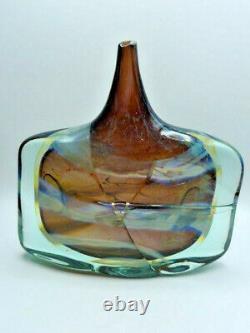 Mdina Malta Glas Vase Michael Harris Art Glass Fish / Axe Head Vase