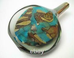 Michael Harris Mdina Malta Art Glass Cut Ice Fish Lollipop Vase Signé