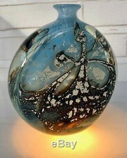 Michele Luzoro Art Studio Bouteille En Verre Grand Vase Lourd Signé Superbe