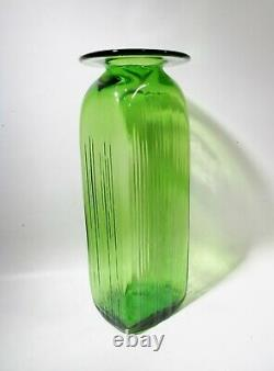 Midcentury Blenko Art Verre Joel Myers 6421 Green 17 Floor Vase Architectural
