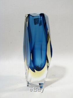 Midcentury Mandruzzato Italienne Murano Facettes Sommerso 6.5 Vase Art Glass