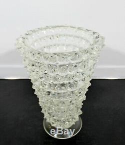 Milieu Du Siècle Moderne En Verre De Murano Épais Clouté Art Vase Sculpture Tableau 70 Italie